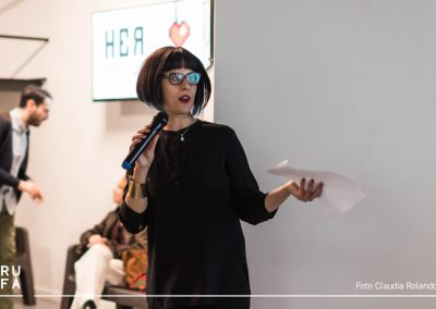 Arianna Forte, the curator of the festival, making her presentation
